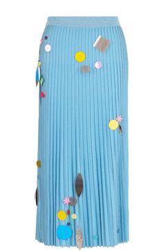 c816f57f Женская голубая плиссированная юбка-миди с пайетками CHRISTOPHER KANE,  сезон FW 17/18
