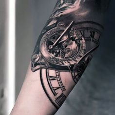 Small Clock Tattoos For Men On Arm