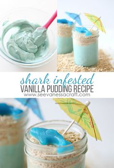 Recipe: Shark Infested Vanilla Pudding – See Vanessa Craft - My CMS Shark Week Drinks, Shark Snacks, Shark Fin Cupcakes, Shark Cake, Shark Bite Drink Recipe, Sundae Recipes, Bento Recipes, Fun Recipes, Sweets Recipes