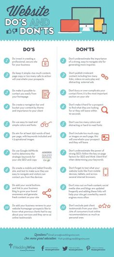 "WEBSITES - ""20 website dos and don'ts https://www.socialmediama... #Business #infographic #infographics"""