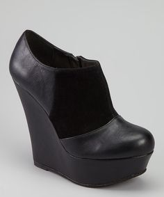 Take a look at this Black Pamela-08 Wedge Bootie by Bamboo on #zulily today!