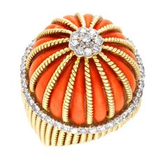 CARTIER A Coral and Diamond Ring