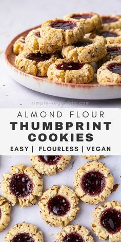 Almond Flour Thumbprint Cookies (Grain-Free + Vegan) - The Simple Veganista - Delicious, soft, chewy and perfectly sweet almond flour thumbprint cookies filled jam are perfect f - Almond Flour Cookies, Baking With Almond Flour, Almond Flour Recipes, Baking Flour, No Flour Recipes, Almond Flour Desserts, Gluten Free Almond Cookies, Almond Flour Biscuits, Oat Flour