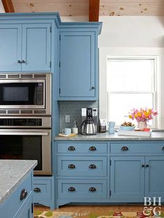 Ordinaire Blue Kitchen Cabinets And Window By Elizabeth Swartz Interiors