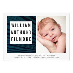 New Wave Modern Gender Neutral Baby Announcement