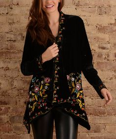 Take a look at this Black Embroidered Sidetail Cardigan today!