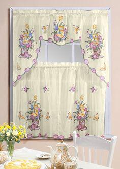 Grape Vine Printed Kitchen Curtain Set   Grape, Kitchen curtain ...