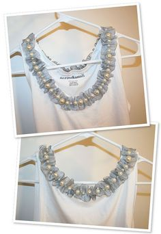 A pearl/ribbon collar for a tank top. No instructions but looks like you go through the bead, pick up a bit of the ribbon, smaller than twice the height of the bead and repeat to the end.