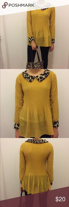 Yellow leopard blouse Fun and flirty. Only worn once. Tops Blouses