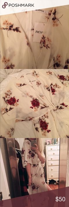 Floral maxi dress REVERSE Brand New with tags white floral maxi dress. Size small. Perfect condition. Reverse Dresses Maxi