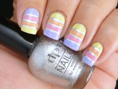 Easter stripes nail art