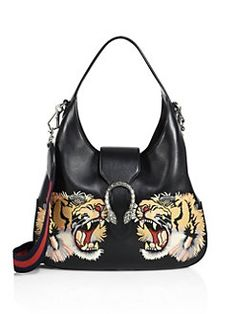 Gucci - Medium Dionysus Tiger-Embroidered Leather Hobo