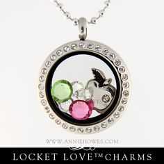 Teacher gift idea! Apple Charm in a beautiful locket includes sparkling Swarovski Crystals. From Annie Howes. www.anniehowes.com