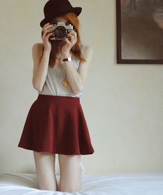 Red Skirt (by Michaela Scalisi) http://lookbook.nu/look/3449125-Red-Skirt