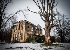 A decaying mansion, which once housed the wealthiest family in Ashtabula County, Ohio. Photograph: Johnny Joo/Barcroft Media