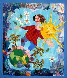 Danish Art Quilt titled Springtime on Earth
