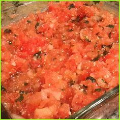 Bruschetta: tomato, onion,garlic, basil, fresh mozzarella, parm cheese salt, pepper. Scoop on sliced baguette and top with balsamic vinegarette.