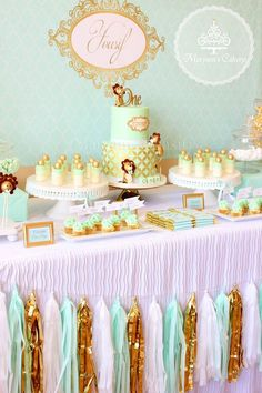 Sweet table from an Elegant Baby Lion Birthday Party via Kara's Party Ideas | KarasPartyIdeas.com (13)