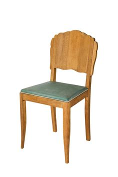 Coqueta #silla cincuentera realizada en madera de roble. Asiento en color verde que dará un aspecto muy chic a cualquier rincón de tu casa.
