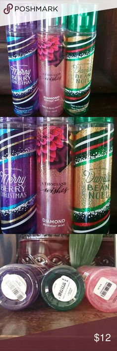 Bath & Body Works Bundle Merry Berry Christmas fine fragrance mist, A Thousand Wishes shimmer mist, Vanilla Bean Noel fine fragrance mist. All three are 8 fluid ounce bottles. The shimmer mist has never been used. The other two have been used 3 times at the most each. Other