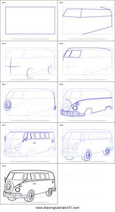 How to Draw Volkswagen Bus printable step by step drawing sheet : DrawingTutoria. Van Drawing, Car Drawing Pencil, Drawing Sheet, Cool Car Drawings, Art Drawings Sketches, Easy Drawings, Bus Art, Sketches Tutorial, Car Design Sketch