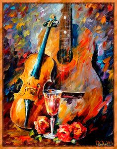 Guitar and violin - Painting by Leonid Afremov Guitar Art, Leonid Afremov Paintings, Love Art, Oeuvre D'art, Painting & Drawing, Violin Painting, Amazing Art, Art Photography, Abstract Art
