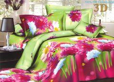 Pościel z mikrwłókna w kolorze zielonym w różowe kwiatki
