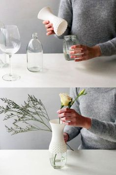 make a vase from any type of jar Diy And Crafts, Arts And Crafts, Do It Yourself Inspiration, 3d Prints, Bottles And Jars, Photo Craft, Ikebana, Diy Gifts, Diy Home Decor