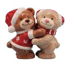 Teddy Bears Salt and Pepper Shakers - Christmas Teddy Bears Hugging Ceramic Magnetic Salt and Pepper Shakers Link #Christmas #Christmas2015