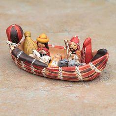 Born in a Canoe Peruvian Nativity Scene Ceramic Sculpture