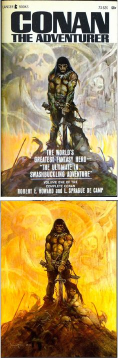 FRANK FRAZETTA - Conan the Adventurer - L. Sprague de Camp & Robert E. Howard  - 1966 Lancer Books 73-526 - cover by isfdb - print by frankfrazetta.net