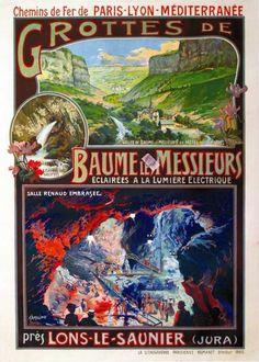 PLM - Grottes de Baume les Messieurs éclairées à la lumière électrique - Lons-le-Saulnier - Jura - illustration de Tamagno - France -