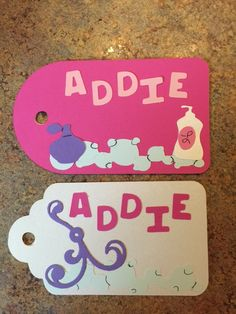 Name tags and tickets for Katie's Spa party by Jane B Vickers
