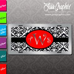 Paisley Monogram License Plate personalized with your initials. We manufacture an assortment of custom mirror car tags. Order this one online.  http://www.jassgraphix.com/product-category/license-plates-2/monogrammed-license-plates