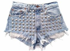 Discover this look wearing Light Blue Omen Eye Shorts tagged jeans, shorts - Stellar Short studded cut off shorts by azuppas High Waisted Shorts, High Waist Jeans, Denim Shorts, Waisted Denim, Ripped Shorts, Studded Shorts, Studded Denim, Studded Dress, Vintage Shorts