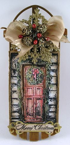 Beautiful stamped Christmas decor - can also be done with just the bow feature at the top and the sled left plain.