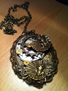 STEAMPUNK ( Leap Frog To Cog)  Pendant on Etsy, £15.99
