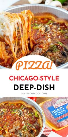 Incredible Chicago-Style Deep Dish pizza can be made right at home! It's so easy, so cheesy and SO delicious! 9 Inch Cake Pan, Chicago Style, Deep Dish, Cake Pans, Sausage, Pizza, Vegetarian, Favorite Recipes, Beef