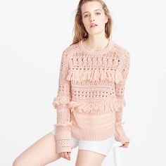 Collection fringe crewneck sweater