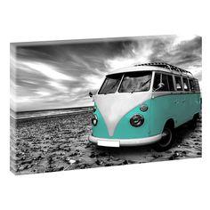 VW Bulli  Keilrahmen Leinwand Poster Bilder Kunstdruck XXL 120 cm*80 cm 515 sw türkis verschiedene Farben erhältlich von Querfarben auf Etsy
