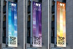 Pentagram's Michael Gericke and his team have designed a bold and elegant new advertising campaign and graphic program for Top of the Rock that highlights the amazing one-of-a-kind vistas seen from the deck. The campaign, which will run throughout the year, appears in print advertisements, promotions and websites, and on posters, digital kiosks, banners and buses throughout New York.