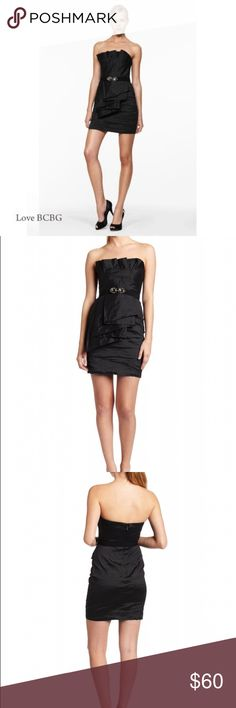 BCBG Cocktail Dress BCBG MaxAzria black taffeta strapless cocktail dress with detachable bejeweled belt.                                   Fully lined. Back zip and hook and eye closure.                                                                         Very good condition.                                               Great for weddings and cocktail parties! Looks great with or without belt!                            20% OFF BUNDLES! BCBGMaxAzria Dresses