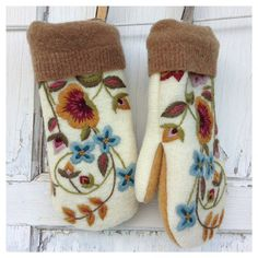 Felted Wool Mittens Embroidered by whimsiedots on Etsy, $28.00