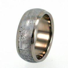 Titanium Ring inlaid with Gibeon Meteorite Round by jewelrybyjohan, $481.00