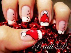 Santa Cap Christmas Nail Art For Short Nails Design – Cute Christmas Nail Art For Short Nails | best stuff