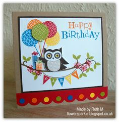 Flower Sparkle: Owl Happy Birthday Card - Inkspirational Challenge #19