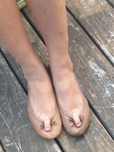 Delores was tired of her ballet flats sliding off so she came up with a solution.