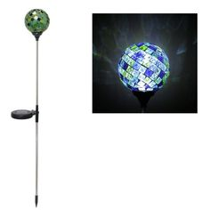 "Solaris Solar Mosaic Glass Garden Stake - Green/Blue by Alpine. $24.99. High quality waterproof housing. Solar power charges in the daytime and illuminates at night. Dimensions: 4""L x 4""W x 33""H. No wiring required. LED Solar Mosaic Globe Stake"