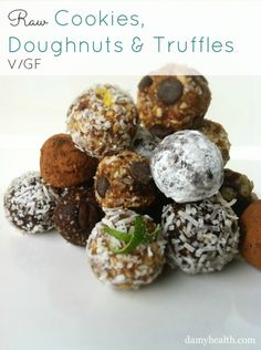 Raw Cookies, Doughnuts & Truffles #raw #vegan #glutenfree #cleaneating #bestrecipesever #skinnydesserts #Healthyrecipes #fitfam #damyhealth #highfiber http://www.damyhealth.com/2013/03/11-of-the-best-healthy-cookie-recipes/