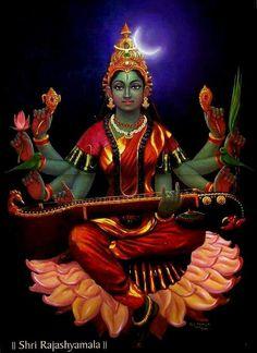 Secrets of Sri Yantra. Saraswati Goddess, Indian Goddess, Goddess Lakshmi, Durga Maa, Kali Hindu, Lord Ganesha Paintings, Ganesha Art, Krishna Art, Indian Traditional Paintings